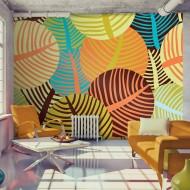 Papier peint  collage feuilles