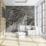 Papier peint  Motif floral noir et blanc