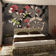Papier peint  motif floral  gris