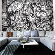 Papier peint  Noir et blanc style rétro