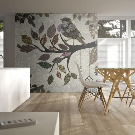 Papier peint  Oiseau sur branche (patchwork)