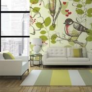 Papier peint  Oiseau et lys vintage