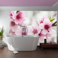 Papier peint  Cerisier en fleurs avec petites fleurs roses