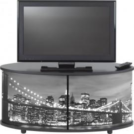 Meuble TV Noir 110 cm Grand Ecran