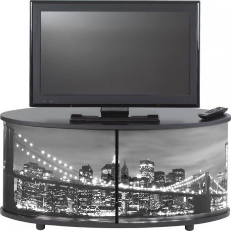 Meuble tv noir 110 cm grand ecran beaux meubles pas chers for Meuble tv pas large