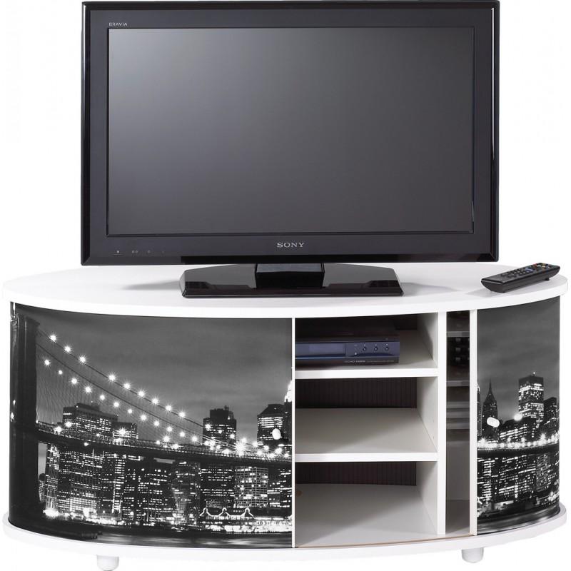 Meuble tv blanc 110 cm grand ecran beaux meubles pas chers for Grand meuble tv blanc