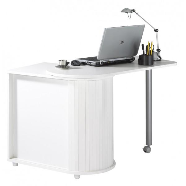 Bureau informatique blanc pivotant beaux meubles pas chers - Bureau multimedia blanc ...