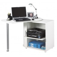 Bureau pivotant blanc et meuble de rangement
