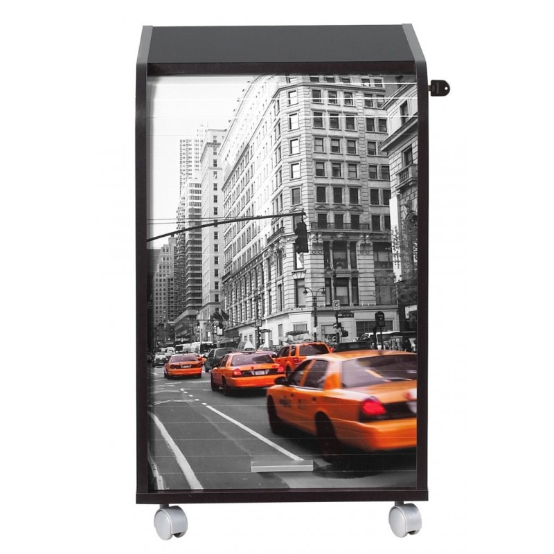 Caisson noir roulettes new york ou paris beaux meubles for Meuble bureau new york