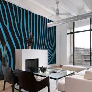 Papier peint  Zebra pattern (turquoise)