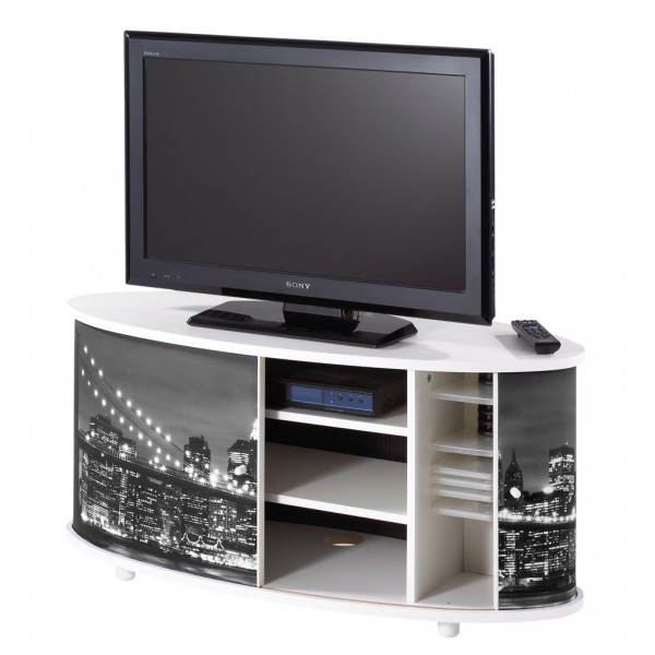 meuble tv blanc grand ecran fa ade imprim e beaux meubles pas chers. Black Bedroom Furniture Sets. Home Design Ideas