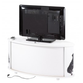 Meuble TV Blanc 110 cm Grand Ecran