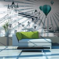 Papier peint  Vol en montgolfière audessus de Tower Bridge