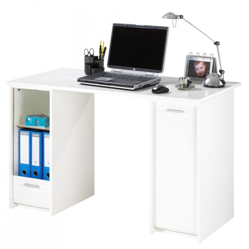 Bureau blanc 2 caissons rideaux imprim s beaux meubles for Bureau blanc adulte