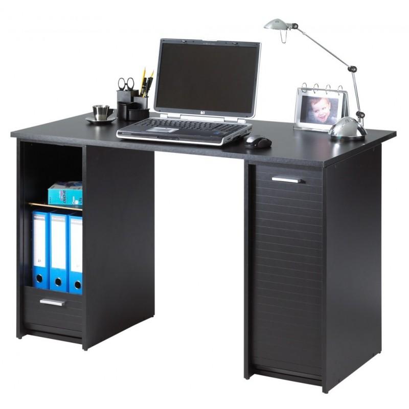 Bureau noir 2 caissons rideaux imprim s beaux meubles for Bureau noir et bois