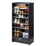 Meuble à chaussures noir avec rideau imprimé