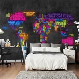Papier peint - carte, en italien - couleurs