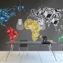Papier peint - Map of the World - colorful solids