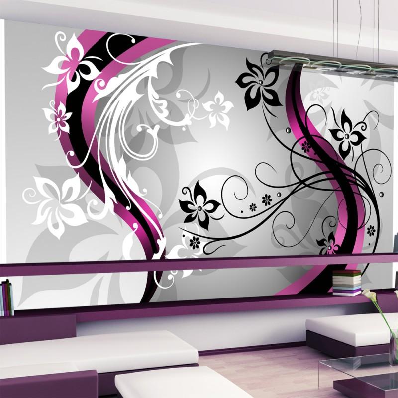 Papier peint xxl art flowers pink beaux meubles pas Quel papier peint avec meuble merisier