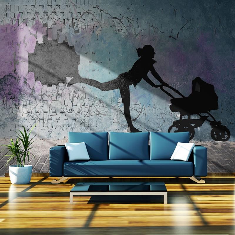 Papier peint femme avec poussette beaux meubles pas chers Quel papier peint avec meuble merisier