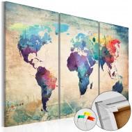 Tableau en liège  Rainbow Map [Cork Map]