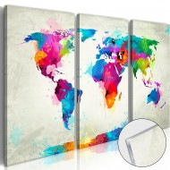 Tableau sur verre acrylique  World Map An Explosion of Colours [Glass]