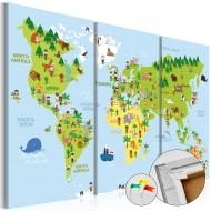 Tableau en liège  Childrens World [Cork Map]