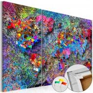 Tableau en liège  Colourful Whirl [Cork Map]