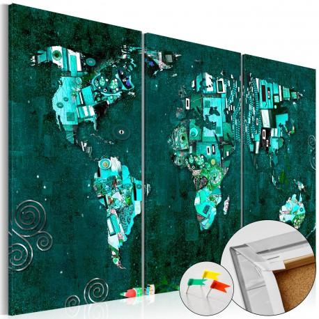 Tableau en liège  Emerald World [Cork Map]