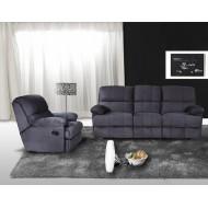 1 Canapé 3 Places Relax 1 Fauteuil Relax Cuir noir