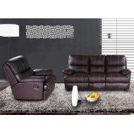 1 Canapé 3 Places Relax et 1 Fauteuil Relax Cuir Chocolat