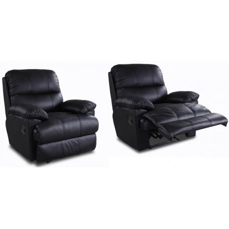 2 Fauteuils Relax Cuir Noir