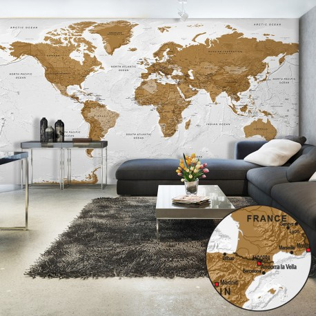 Papier peint XXL  World Map White Oceans II
