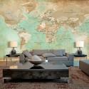 Papier peint XXL - Turquoise World Map II