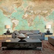 Papier peint XXL  Turquoise World Map II
