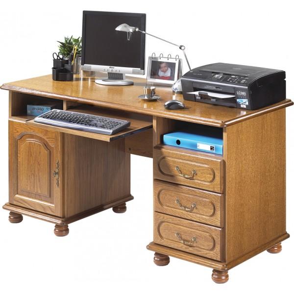 Bureau ministre informatique ch ne rustique - Comment rehausser un meuble ...