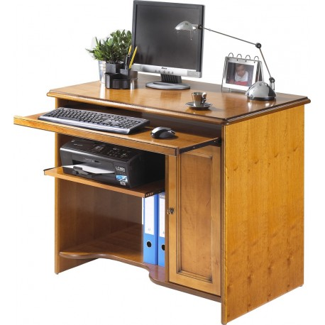 Bureau informatique merisier for Console informatique bois