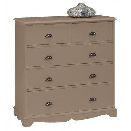 Commode Taupe 5 Tiroirs Charme