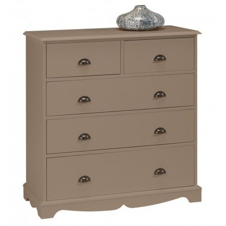 commode taupe 5 tiroirs charme beaux meubles pas chers. Black Bedroom Furniture Sets. Home Design Ideas