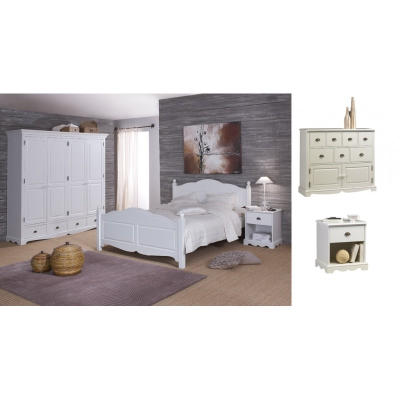 Chambre blanche compl te lit 140 beaux meubles pas chers for Chambre complete blanche