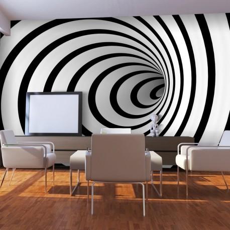 Papier peint  Tunnel 3D noir et blanc