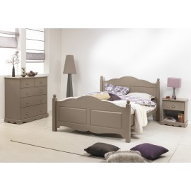 Chambre Taupe Lit 140 + Commode + Chevet