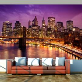 Papier peint - Manhattan et Pont de Blooklyn la nuit