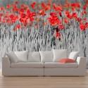 Papier peint - Coquelicots rouge sur champ noir et blanc