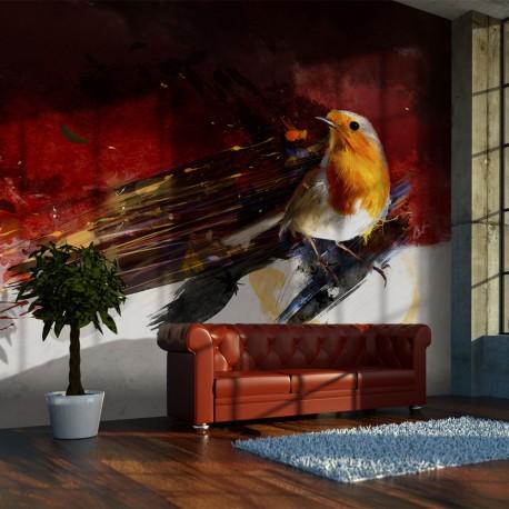 Papier peint  Un oiseau sur fond artistique