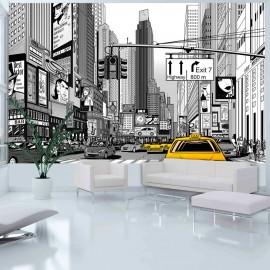 Papier peint - BD - taxis jaunes à New York