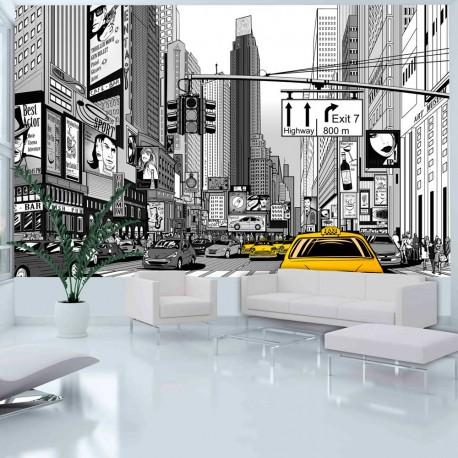 Papier peint  BD  taxis jaunes à New York