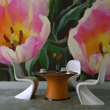 Papier peint  tulipes  duo