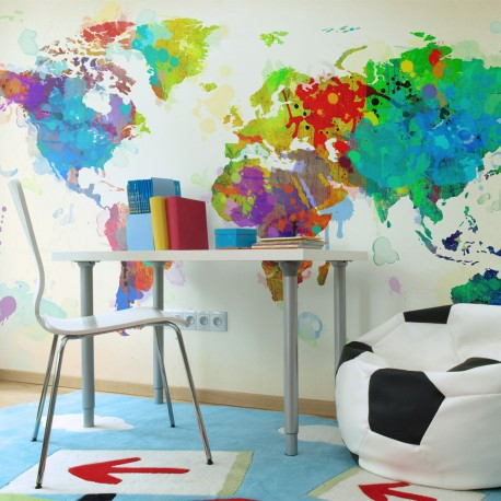 Papier peint  Paint splashes map of the World