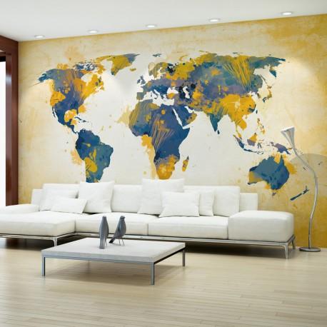Papier peint  Map of the World  Sun and sky